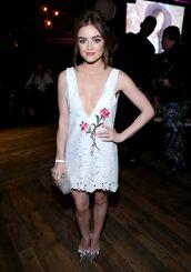 dress,mini dress,lace dress,plunge v neck,pumps,lucy hale,white,white dress,tunic dress,tunic