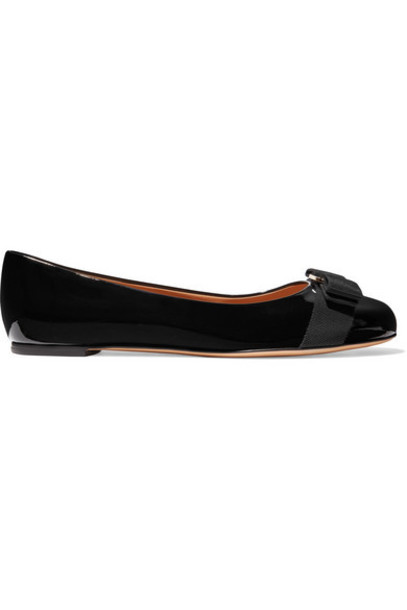 Salvatore Ferragamo - Varina Patent-leather Ballet Flats - Black
