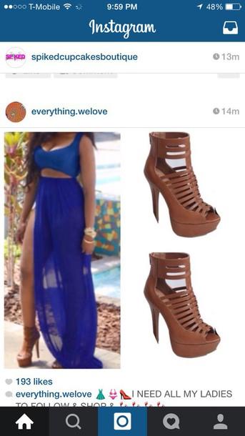 dress royal blue dress skirt crop tops royal blue