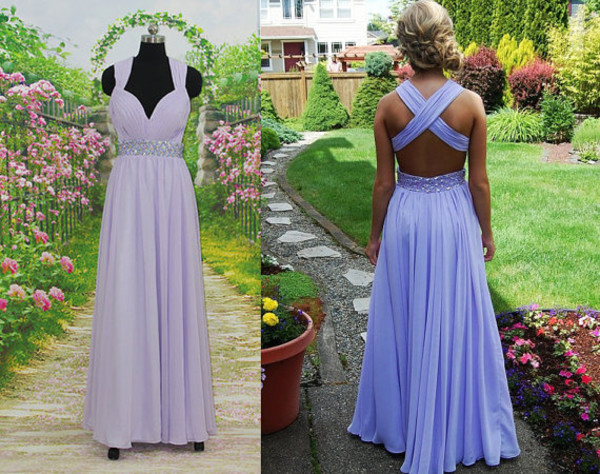 open back criss cross chiffon dress prom dress lavender dress prom party dress party dress long lavender dress dress