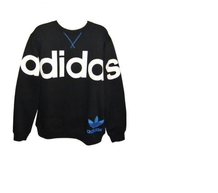 Adidas Linear Crew Neck Fleece Swetshirt Black Blue | eBay