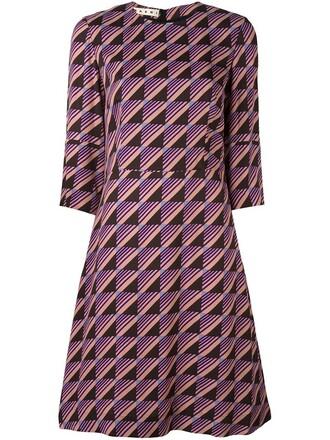 dress print dress geometric print purple pink