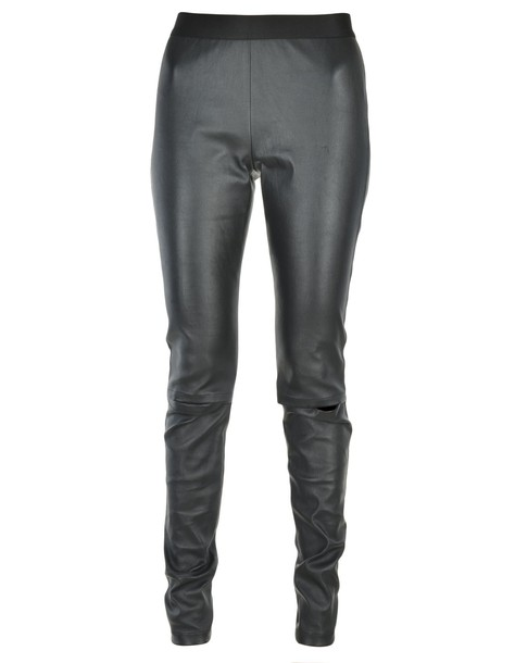 ANN DEMEULEMEESTER leggings leather leggings leather black pants