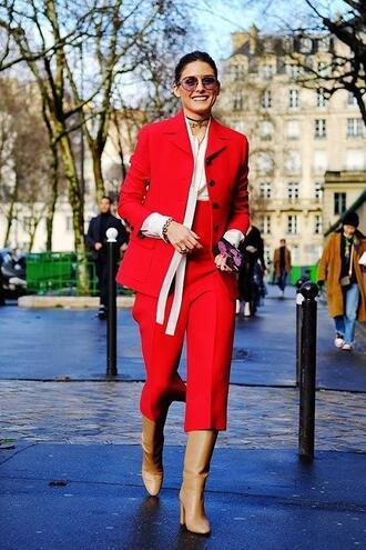 shoes red pants blazer blogger streetstyle paris fashion week 2018 fashion week 2018