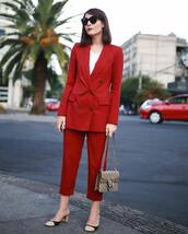 jacket,cropped pants,tumblr,blazer,red blazer,red pants,pants,matching set,two piece pantsuits,power suit,shoes,mules