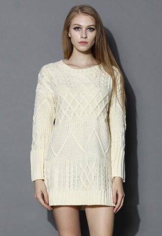beige dress off-white sweater dress