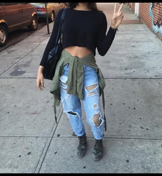 jeans tumblr outfit crop tops black long sleeves cute