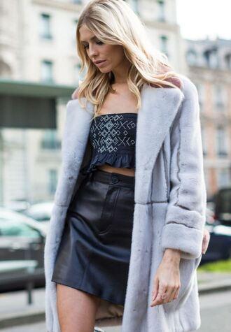 skirt top crop tops fur coat fur fashion week 2017 paris fashion week 2017 streetstyle mini skirt leather