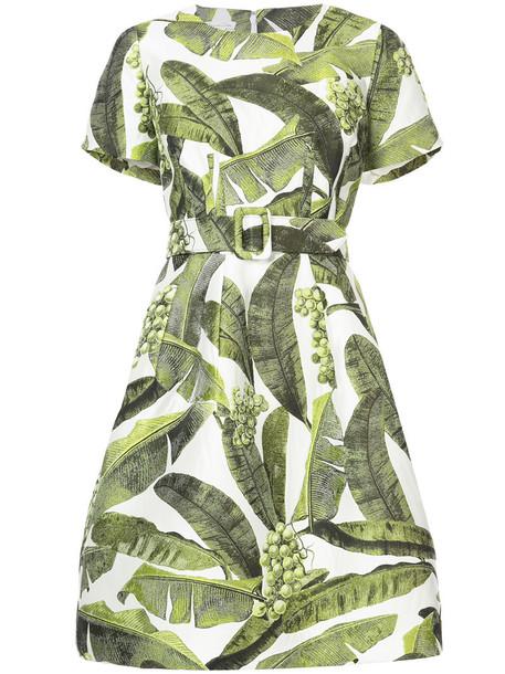 dress belted dress women print silk green