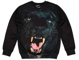 sweater black sweater black panther animal print black sweatshirt cougar fusion sweatshirt