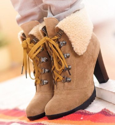 a11beb2bf48f Free shipping ankle boots high heel shoes short winter fashion sexy warm fur  buckle women boot ...