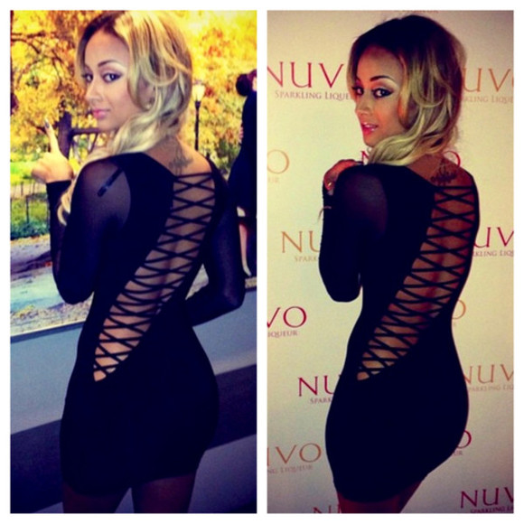 laced up dress draya bacl bodycon