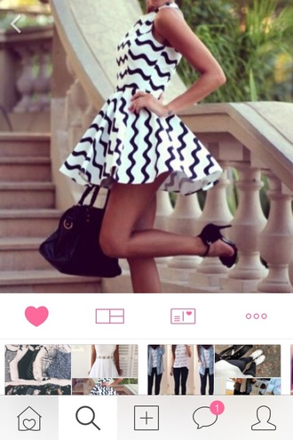 dress scratch white dress black dress cute dress summer dress zigzag black and white dress