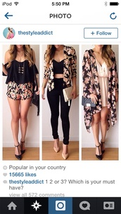 top,outfit,jeans,jacket,it's a floral jacket/blouse  pink flowers with black around it,blouse,jewels,cardigan,floral kimono,floral cardigan,floral jacket,floral,shorts,cardagen,outfitt,kimono,crop tops