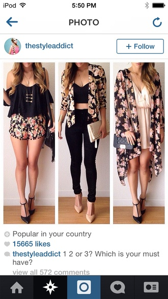 top outfit jeans jacket it's a floral jacket/blouse  pink flowers with black around it blouse jewels cardigan floral kimono floral cardigan floral jacket floral cardagen outfitt kimono crop tops