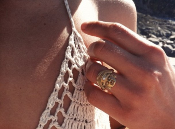 aztec gold ring jewels boho hipster indie girl native american