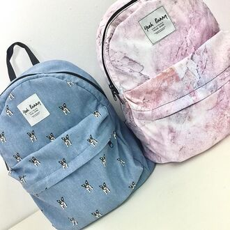bag yeah bunny marble pink pink marbe backpack