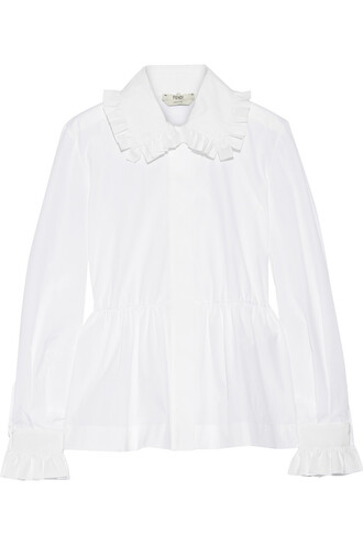 shirt peplum shirt cotton white top