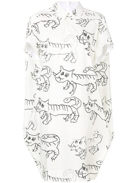 MARNI dress shirt dress women white cotton print