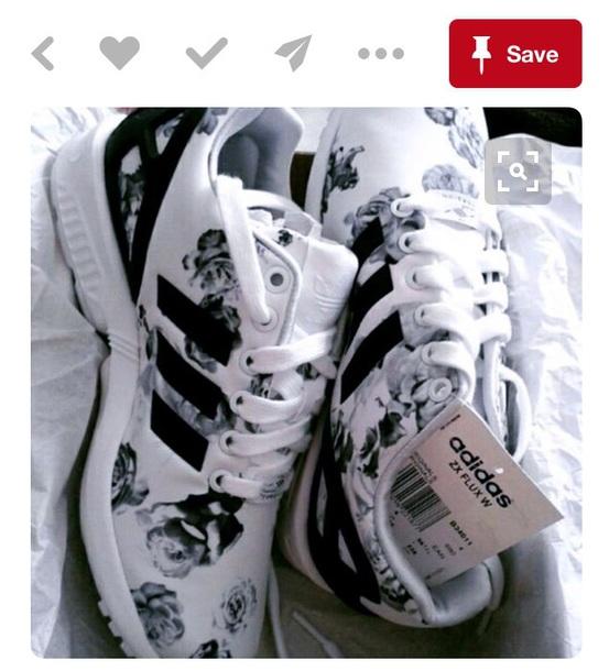 shoes, black, white, floral, adidas