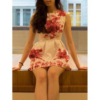 dress rose wholesale floral cute dress fashion summer summer dress sleeveless dress girly