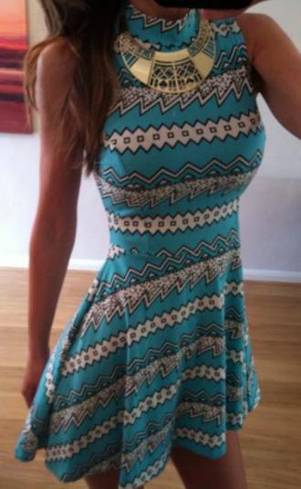 dress aqua aztec skater dress