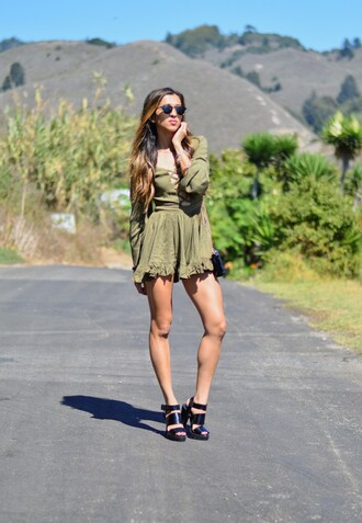 cuppajyo blogger romper shoes jewels sunglasses bag