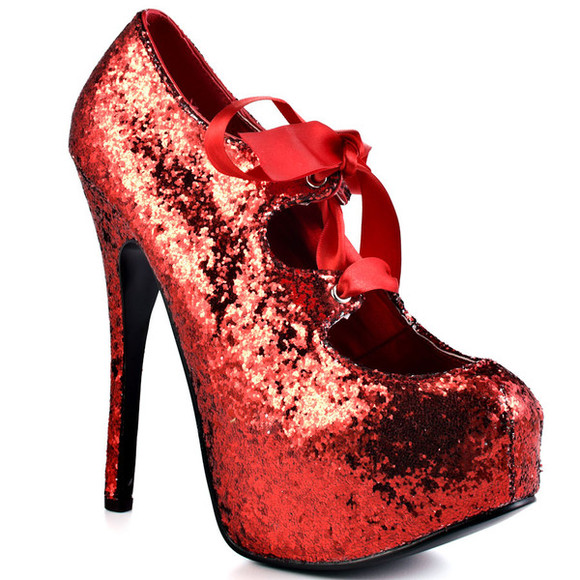 shiny shoes bows shoes red glitter red laced pumps glitter shoes glitter sequins laced heels laced up high heels laced red high heels red heels bow high heels bow shoes red bow