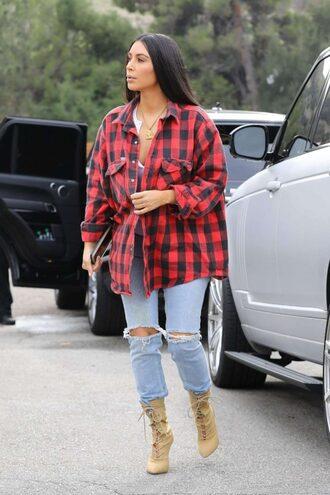 shirt plaid plaid shirt kim kardashian boots jeans kardashians fall outfits