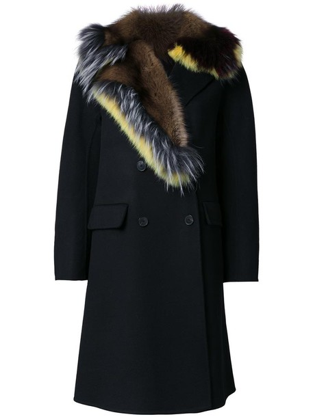 Ermanno Scervino coat fur collar coat fur women black wool