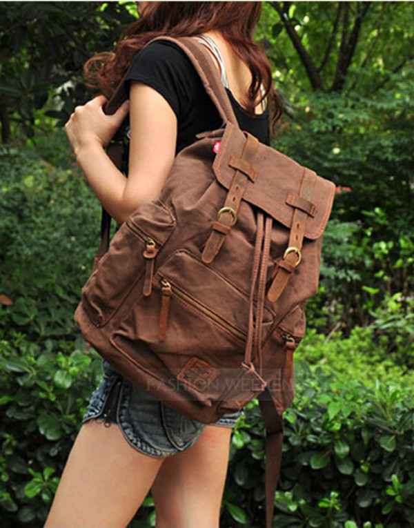 bag genuine leather cotton backpack travel bag rucksack \ camping