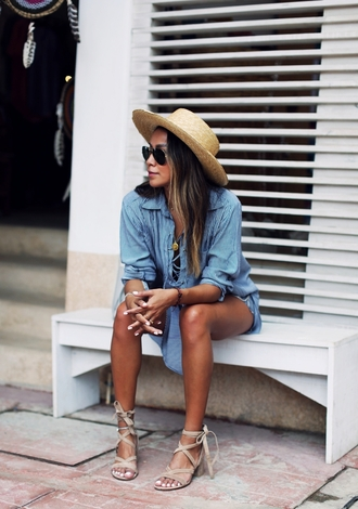 blogger hat denim dress summer outfits nude sandals suede sandals spring spring outfits straw hat shirt dress