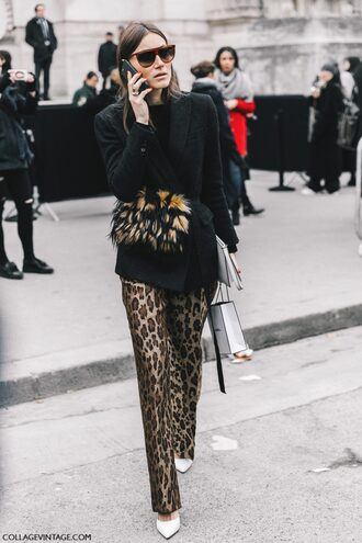 pants fashion week 2017 tumblr streetstyle fashion week street style leopard print printed pants black blazer blazer sweater black sweater bag belt bag furry bag sunglasses pumps pointed toe pumps high heel pumps white heels