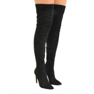 shoes black  high heels thigh-high boots