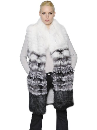 vest fur vest fur fox white grey jacket