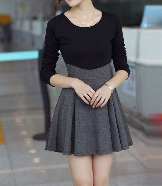 dress, cute dress, black, grey, black dress, skater ...