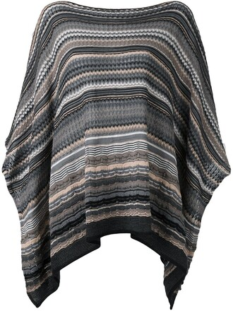 poncho knit grey top