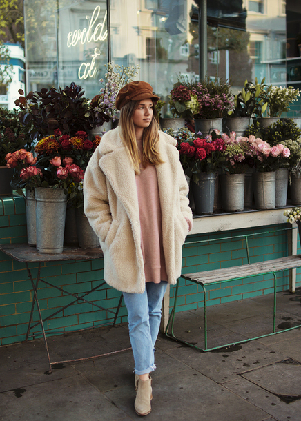 coat tumblr white coat fuzzy coat teddy bear coat hat fisherman cap denim jeans blue jeans boots nude boots ankle boots