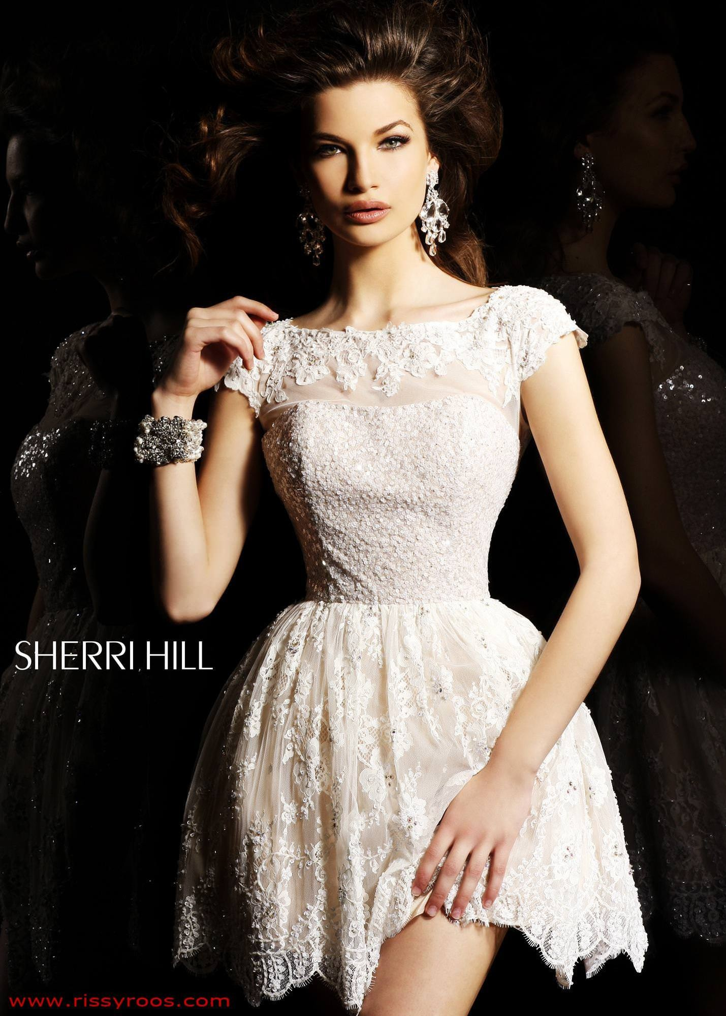 sherri hill 2957 flirty cap sleeve lace short dress