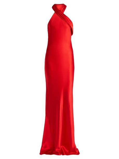 Galvan gown asymmetrical silk satin red dress