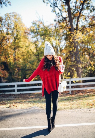 thesweetestthing blogger sweater leggings shoes hat bag red sweater oversized sweater beanie white bag ankle boots fall outfits