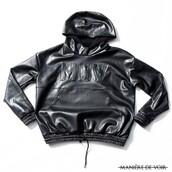 sweater,maniere de voir,leather,hoody,mdv,faux leather,hoodie,black,urban