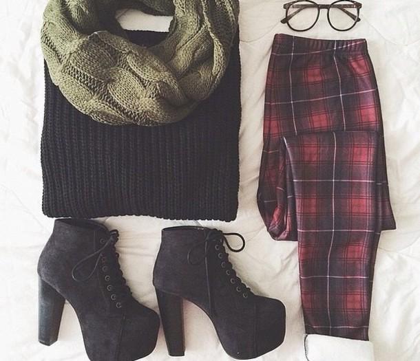 shoes jeans plaid plaid pants scarf khaki sweater pants