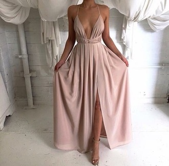 pink dress blush summer dress slit dress v neck beige dress prom dress white dress cream dress chiffon chiffon dress chiffon prom dress lilac pale pink dress pink slip dress dress