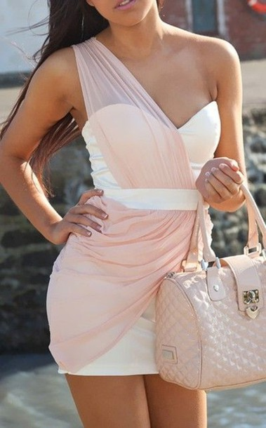 sweetheart neckline one shoulder draped dress white dress pink chiffon dress bag