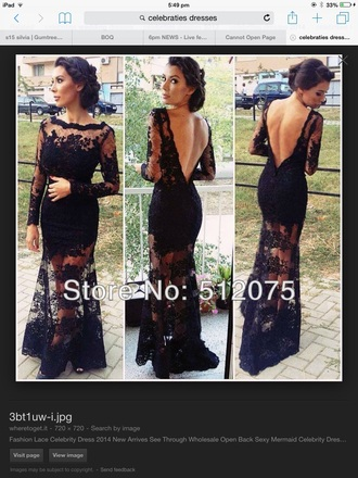 dress black open back beautiful lace prom mermaid dress