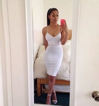 strappy cami cami dress dressy classy midi party tumblr girl dress white