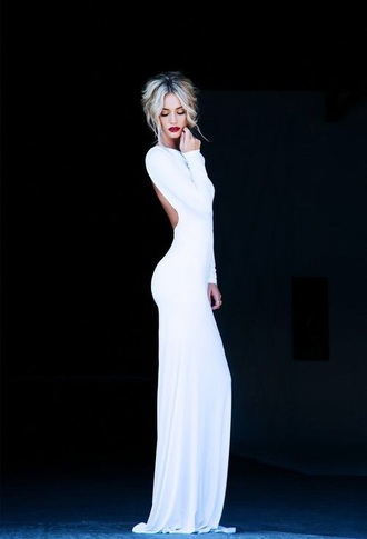 dress white long open back ball gown evening dress slim long sleeve glamourous