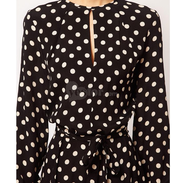 Chic Women Jumpsuit Polka Dot Long Sleeve Plunging Back Waist Strap , unit price of $11.19 only - Yesfor.com