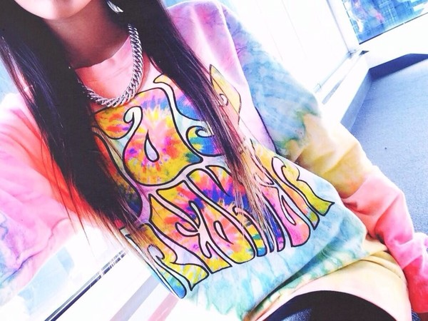 sweater trippy hippie boho tie dye day tripper tie dye hippie grunge crewneck tie dye sweater colorful jacket trippyfeels